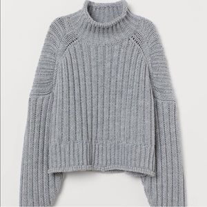 H&M Blue/Grey Knit Pullover Turtleneck Sweater